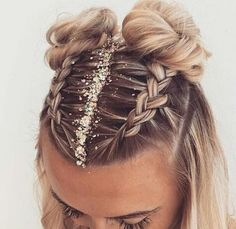 Fun and festive hairstyle for NYE by :: NYE Hairstyles for women NYE hair Hairstyle inspiration Hairstyles with glitter Topknot buns french braid hairstyles clip in extensions French Braid Hairstyles, Pretty Hairstyles, Cute Braided Hairstyles, Two Buns Hairstyle, Hairstyle Ideas, Simple Hairstyles, Hairstyles For Women, Style Hairstyle, Hairstyles For Medium Length Hair
