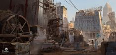 View an image titled 'Construction Site Art' in our Assassin's Creed Origins art gallery featuring official character designs, concept art, and promo pictures. Fantasy Art Landscapes, Fantasy Landscape, Environment Concept Art, Environment Design, Montreal, Site Art, Art Blog, Assassins Creed Origins, Game Concept Art