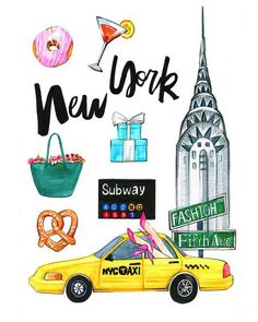 New York City art NYC art print by RongrongIllustration on Etsy New York Poster, City Poster, Fashion Illustration Portfolio, New York Illustration, Travel Illustration, Nyc Subway, Skyline Art, Manhattan Skyline, Carte New York
