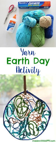 Yarn Earth Day Activity | Yarn Earth | Kids Activities | www.madewithHAPPY.com