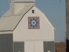 Blue and Tan Triple Star, rural Fonda, IA - Painted Barn Quilts on Waymarking.com