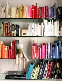 bookshelf - colored books