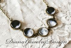 Moon phases necklace, Planet necklace, Solar System, Space, Universe, Planet Jewelry, Sky, Stars