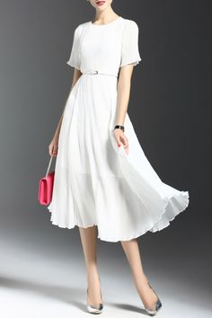 Joy&joso White Ruched Belted A Line Midi Dress | Midi Dresses at DEZZAL