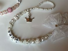 Bling *Princess* Shamballa & Crystal Romany Dummy Clip Personalised Pink White | eBay