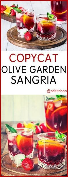 Copycat Olive Garden Sangria - Recipe is made with ice, oranges, strawberries, red table wine, grenadine, cranberry juice cocktail, sweet vermouth, sugar water | CDKitchen.com