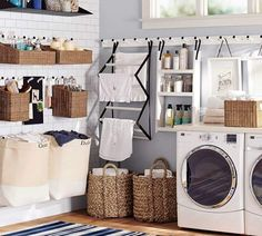 I am totally in love with this laundry room setup #laundryroom #homedecor #washandwear #afflink #cottage #farmhouse