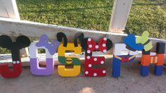 Mickey Mouse Clubhouse Party- Disney Letter Art- Includes Up to 5 Letters on Etsy, $42.50