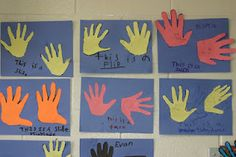 Slide, Flip, and Turn hall display using hand prints.