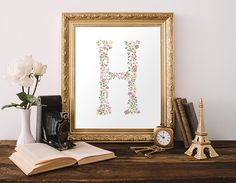 Nursery Monogram Printable Letter H Initial Wall Art Pink Nursery Letters Lavender Nursery Decor Pink Floral Print 8x10 Instant Download by MossAndTwigPrints on Etsy