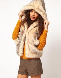 ASOS Hooded Gilet with Pom Poms