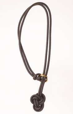 Knot Necklace / Macrame Necklace /  Rope Necklace - Dark Metallic Grey