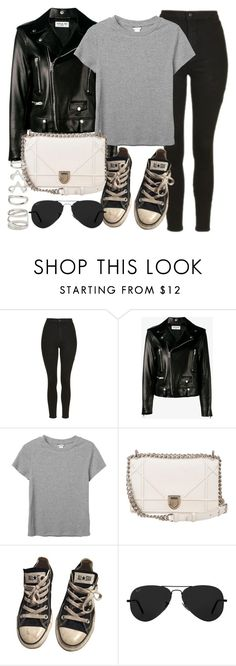 """Style #11278"" by vany-alvarado ❤ liked on Polyvore featuring Topshop, Yves Saint Laurent, Monki, Christian Dior, Converse, Ray-Ban and Forever 21"