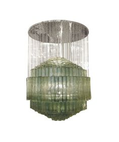 Large circular nickel chandelier composed of suspended Murano glass tubular elements by Venini.