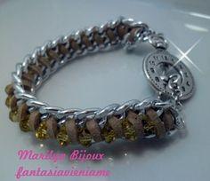 Bracciale catena alluminio cristalli pelle scamosciata chiusura argento tibetano