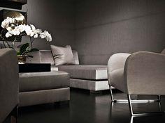 Rich Fabrics in Silver Gray (Donghia) with dark espresso wood flooring - LOVE