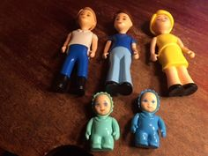 Vintage Little Tikes Tykes Dollhouse Figures Family of 5 Mother Father Boy Baby