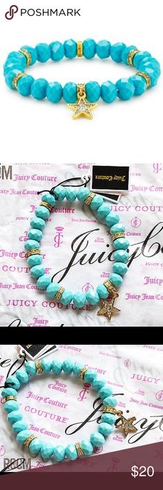 Juicy Couture Beaded Star Charm Bracelet Worn once for a party. Turquoise beads with gold accents. New without tags. Juicy Couture Jewelry Bracelets