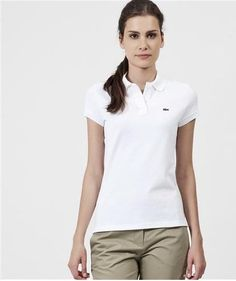 Lacoste Short Sleeve 2 Button Stretch Pique Polo PF170F51 2White ** Click on the image for additional details.