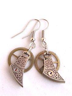 Steampunk  Watch parts earrings  Reboot  by steampunkjunq on Etsy, #steampunk #earrings