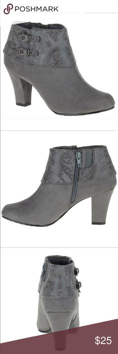 """NEW Soft Style by Hush Puppies Creel Boots size 6 Size 6; color dark grey faux suede                 Add a pop of prints to your footwear wardrobe with this faux suede ankle boot or go for a classic look in all-over smooth Vitello. A chic cuff defines this heeled style—built with our SoftDelight™ technology for all-day comfort and superior shock absorption. • Double buckle ankle bootie with collar • SoftDelight™ Comfort System • 21/8"""" heel Hush Puppies Shoes Ankle Boots & Booties"""