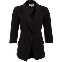 Only Sophia Black Boyfriend Blazer ($61) ❤ liked on Polyvore