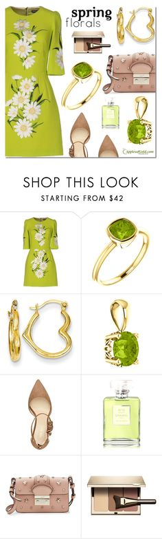 """""""ApplesofGold.com - Green Peridot Jewelry"""" by mada-malureanu ❤ liked on Polyvore featuring Dolce&Gabbana, Nine West, Chanel, RED Valentino, Clarins and applesofgold"""