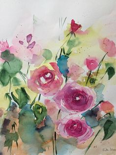 ORIGINAL AQUARELL Aquarellmalerei Kunst Wiesenblumen Blumen watercolor Flowers | eBay