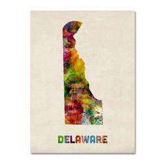 Trademark Fine Art Delaware Map Canvas Wall Art by Michael Tompsett, Size: 18 x 24, Multicolor