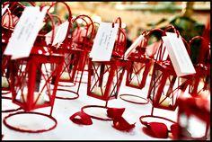 #wedding red escort table lanterns {Mirus Polleo Photography}