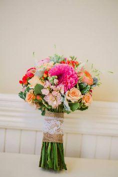 by Chelsea Elizabeth Photography - Bridal Bouquet // Terra Bella Event Florals // Camarillo Ranch // wedding // coral // lace & burlap