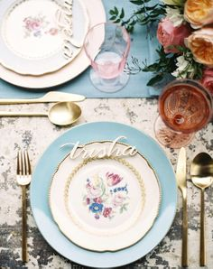 14 Stylish Place Settings: floral china, blush glassware, gold flatware and laser-cut wood place card names