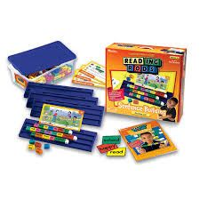 Reading Rods! Cubes with letters on them, put them together to build words. Great for word families and understanding word building concepts.