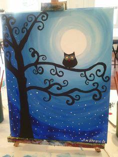 My Moonlight Owl painting, done at Cheers to Art in Cincinnati