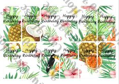 Tropical Dreams Printable Birthday Gift Tags by KiwiCardHouse on Etsy