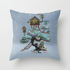 Christmas Tree Throw Pillow by Anna Shell - $20.00