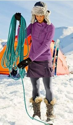 Wish I lived in a snowy place so I could wear a cute outfit like this!  I especially love those snow boots!