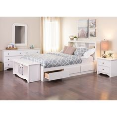 Winslow White Queen Platform Storage Bed - Free Shipping Today - Overstock.com - 10687570 - Mobile