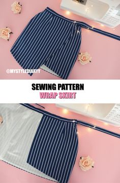 WRAP SKIRT SEWING PATTERN clothes for teen clothes no sewing clothes refashion clothes thrift store clothes tshirt Skirt Patterns Sewing, Clothing Patterns, Skirt Sewing, Pattern Sewing, Wrap Pattern, Pattern Skirt, Sewing Patterns Free, Wrap Skirt Patterns, Crop Top Pattern