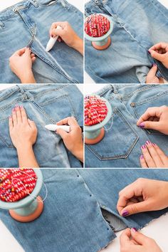 Jeans Hack Girls Who Hate Pants Will Love Turn a pair of jeans into a denim skirt with this sewing hack.Turn a pair of jeans into a denim skirt with this sewing hack. Diy Jeans, Jeans Refashion, Sewing Jeans, Diy Clothes Refashion, Sewing Clothes, Reuse Clothes, Skirt Sewing, Recycle Jeans, Refaçonner Jean