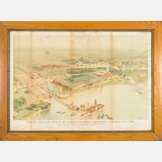Lot 237 CHARLES S. GRAHAM	  Charles S. Graham, (1852-1911) - Official Brid's-Eye View of the Columbian Exposition: Chicago USA, 1893, Medium: Color lithograph, Dimensions: H: 29 1/4 W: 42 Est: $800-1,200 	  Description Charles S. Graham, (1852-1911) - Official Brid's-Eye View of the Columbian Exposition: Chicago USA, 1893,  The Winters Art Lithograph Co. Originally created as part of a portfolio from the World's Columbian Exposition.