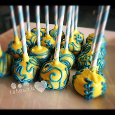 Vanilla Sprinkle Chip Cakepops in yellow and blue - Lil Mrs Cake Heart