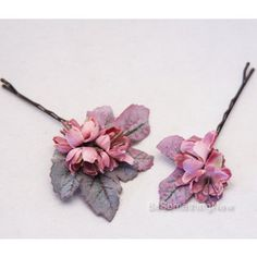 Rose Pink and Green Flower Bobbie Pins Bridesmaids Flower Hair Accessories Wedding Hair Flower Gi