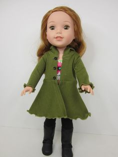 14.5 inch doll clothes  -  Olive green  Hyde park hoodie by JazzyDollDuds.