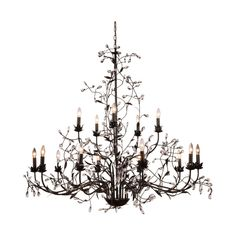 "Elegant Lighting 1222G55 Arbor 15 Light 55"" Wide Crystal Accent 2 ($1,790) ❤ liked on Polyvore featuring home, lighting, ceiling lights, chandeliers, golden dark bronze, indoor lighting, crystal lamps, crystal chandelier light, chain chandelier and crystal candelabra"
