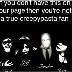Creepypasta characters Slenderman, Laughing Jack, Jeff, and Jane.