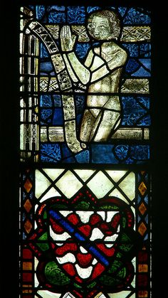 The stained glass windows in the chancel of Tewkesbury Abbey, c. 2338 - 1340  are all from between 1338 and 1340.     http://professor-moriarty.com/info/section/stained-glass/pre-c19-chancel-windows-tewkesbury-abbey