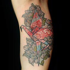 Origami Flamingo tattoo