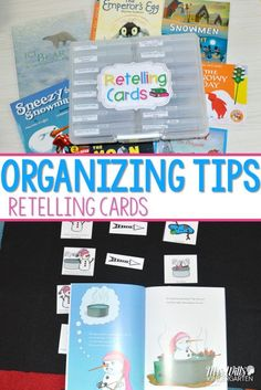 Organize Reading Retell Materials with this simple organizing container. Students can sort retelling and text details on some of their favorite January read aloud books: Sneezy the Snowman, The Snowy Day, Snowmen at Night, Ice Bear, and The Moon Seems to