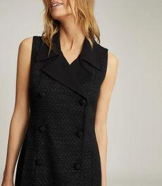 Maevie Black Sleeveless Tuxedo Mini Dress – REISS Classic Tuxedo, Iconic Dresses, Tuxedo Jacket, Reiss, Dress Collection, Double Breasted, Trendy Outfits, High Fashion, Women Wear